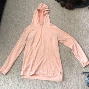 Super comfy pink quarter zip sweatshirt with hood